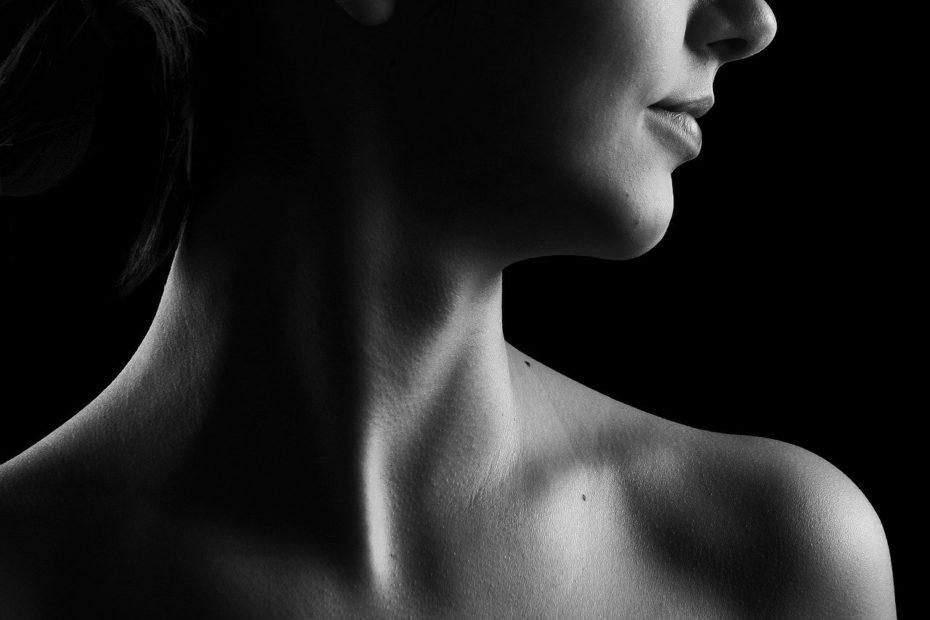 neck, black and white, beauty